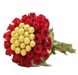 Buqu� de Vinte  Rosas com Ferrero Rocher -  OT10