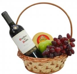Cesta de Vinho e Frutas -  CV01