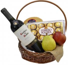 Cesta de Vinho com Ferrero Rocher - CV04