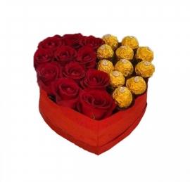 Box Cora��o de Rosas com Ferrero Rocher - BX11