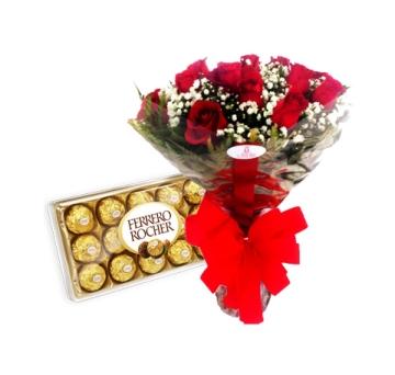 Buqu� de Rosas com Ferrero Rocher - 1057