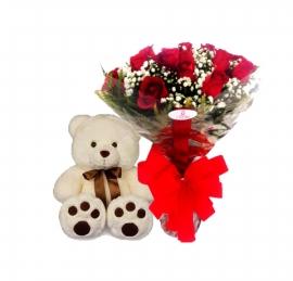 Buqu� de Rosas com Ursinho de Pel�cia - 1081