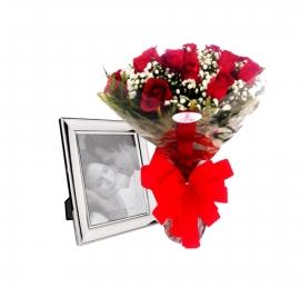 Buqu� de Rosas com Porta Retrato - 1084