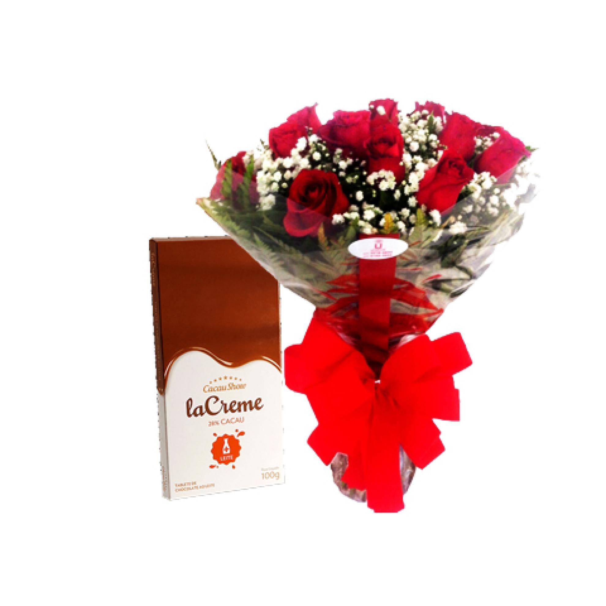 Buqu� de Rosas com Chocolate 100g Cacau Show - AC05