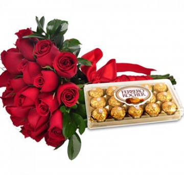 Buqu� 30 Rosas com Ferrero Rocher - B06