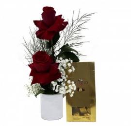 Arranjo Rosas com Chocolate Alpino - A-03