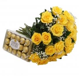 Buqu� 20 Rosas Amarelas com Ferrero Rocher - AC09