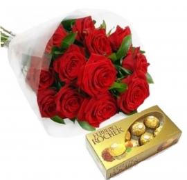 Buqu� 12 Rosas Importadas com Ferrero Rocher - RC10
