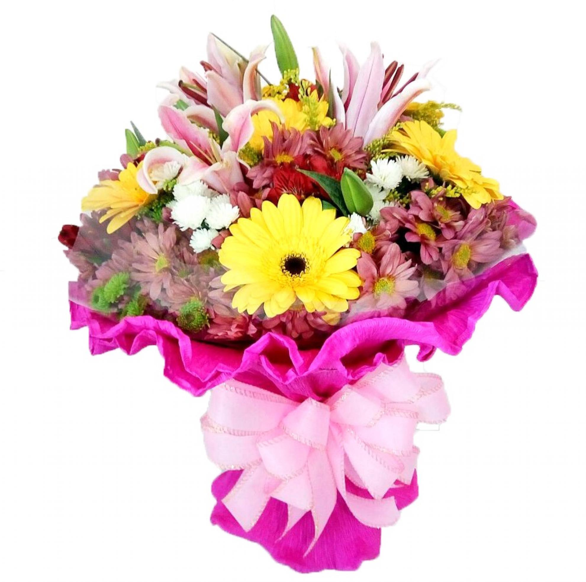 Buqu� Italiano Flores do Campo Rosa - BC08